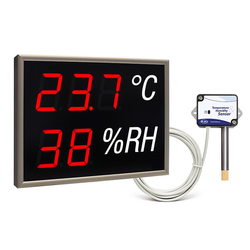 Autonominis LED ekranas, kuris matuoja temperatūrą ir drėgmę