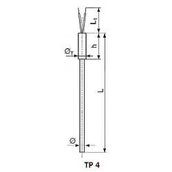 Termoelektryczny czujnik temperatury płaszczowy z tuleją. typ: