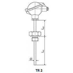 Resistant temperature sensor with screw thread and replaceable measurement insert. Type tr2