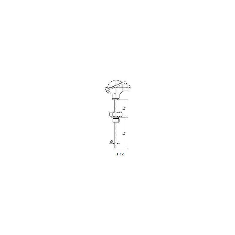 Rezystancyjny czujnik temperatury z gwintem i wymiennym wkładem