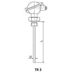 Resistant temperature sensor with screw thread and replaceable measurement insert. Type tr3