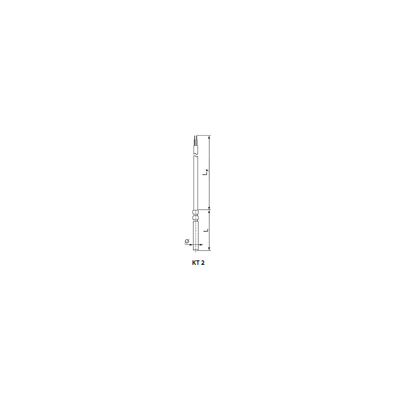 Thermoelectric or resistant temperature sensor. Type kt2