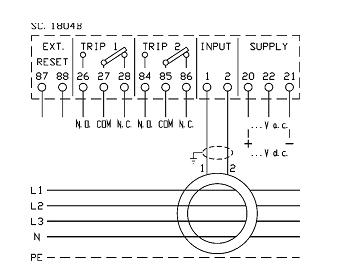 earth leakage relays x52ds 53x90 dacpol connection diagram przekaźnik prądu upływu x52ds schemat