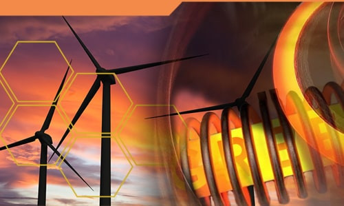 What role does induction heating play in the promotion of wind turbines?