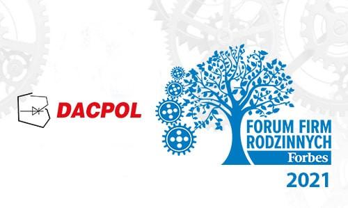 """DACPOLw rankingu magazyny Forbes """"Najcenniejsze Firmy Rodzinne"""" 2021"""